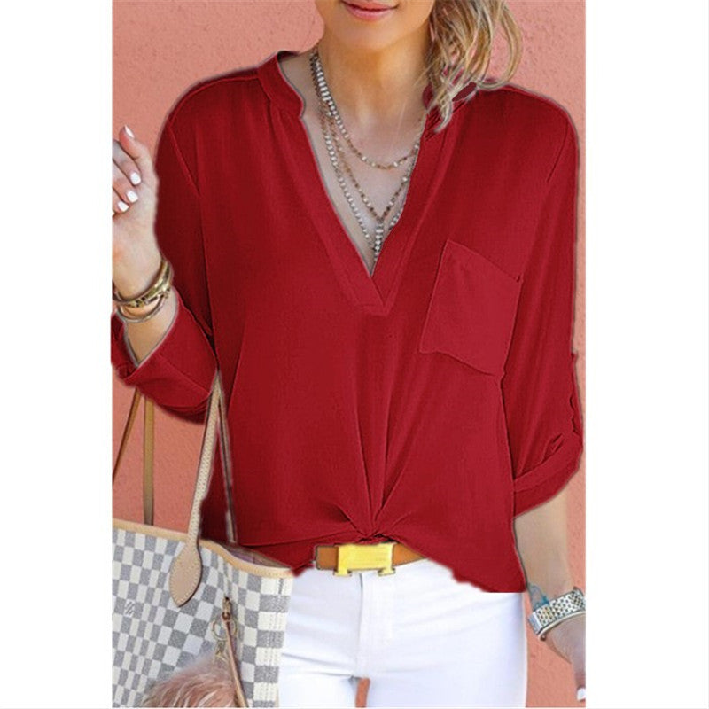Women Long Sleeve V-Neck Blouse Casual Shirt Chiffon Tops Plus Size S-5Xl | Edlpe