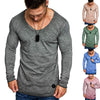 Image of Mens V Neck Long Sleeve Slim Fit T-Shirt Colored Cotton Solid Color Blouse Tops L-3Xl | Edlpe