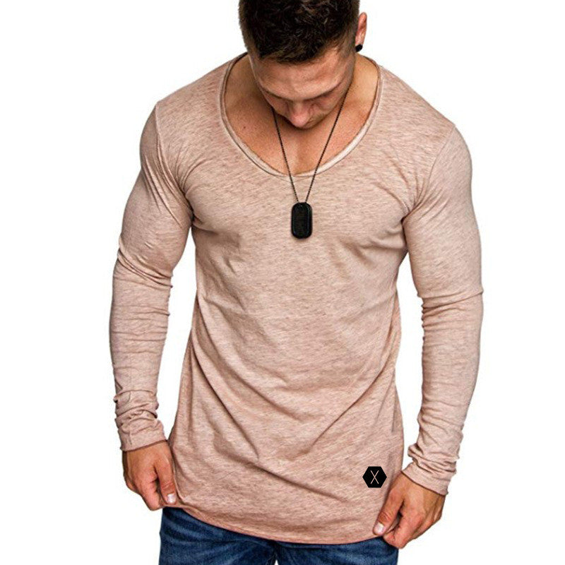 Mens V Neck Long Sleeve Slim Fit T-Shirt Colored Cotton Solid Color Blouse Tops L-3Xl | Edlpe