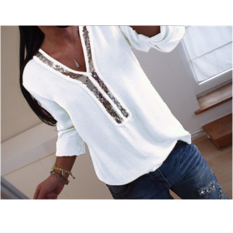 Women Long Sleeve Sequin V-Neck Tops Blouse Ladies Casual T Shirt Plus Size | Edlpe