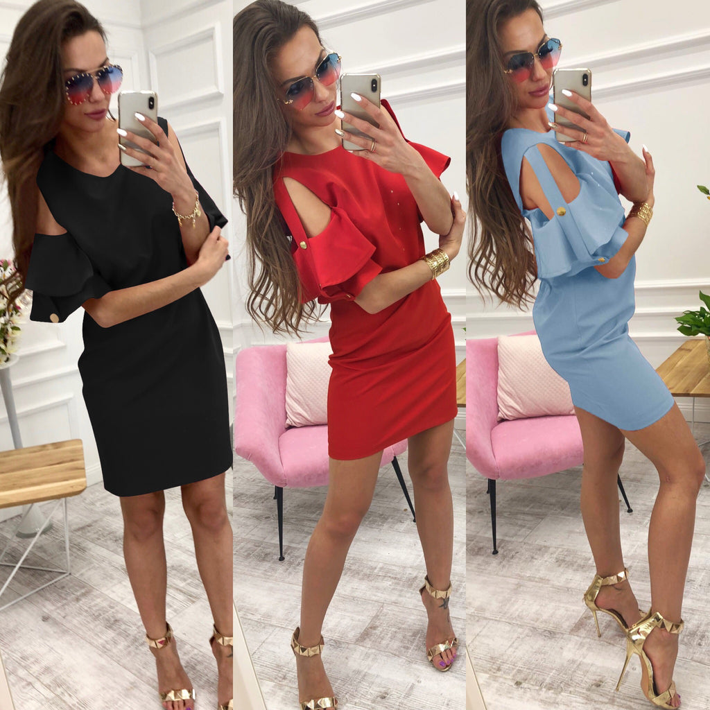 Women Sexy Cold Shoulder Ruffle Sleeve Short Mini Dress Club Party Bodycon Dress | Edlpe