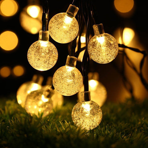 5M 20Leds Solar Power Bubble Crystal Ball Waterproof Led String Light Fairy Light Home Outdoor Decor | Edlpe