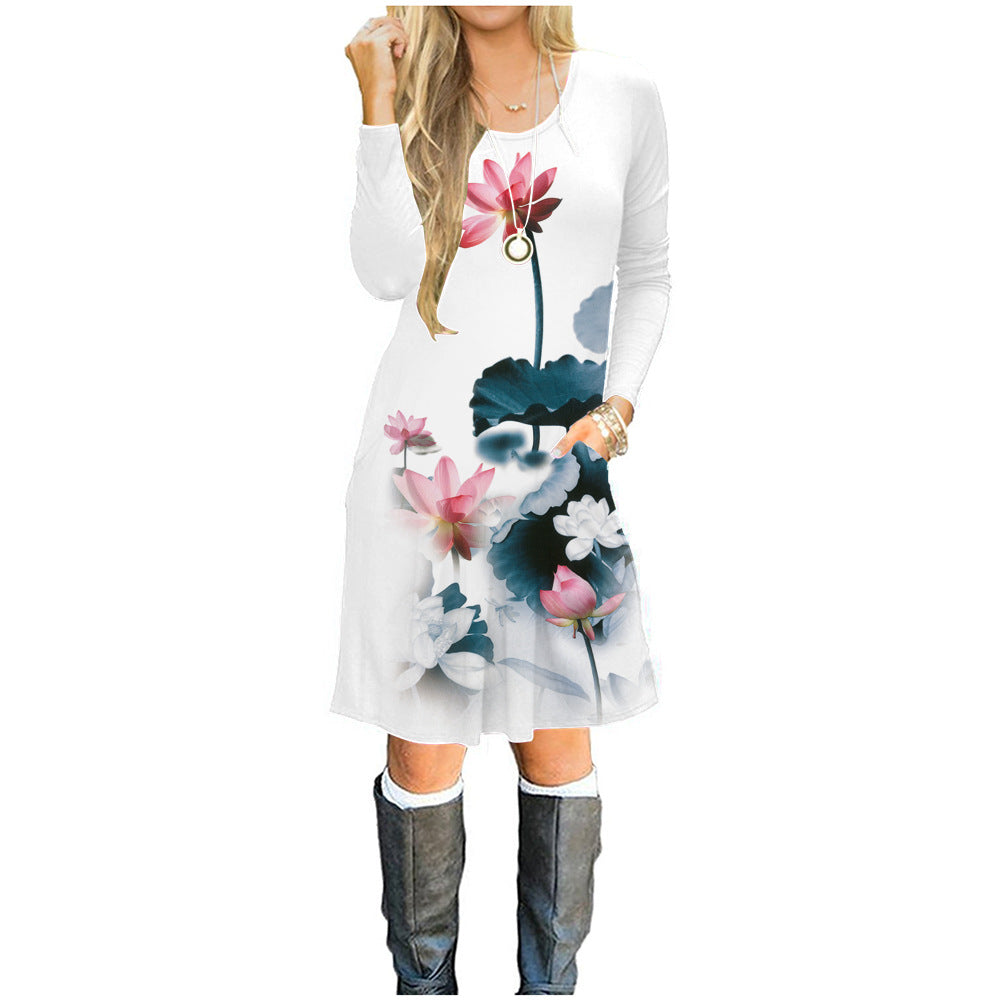 Women Floral Long Sleeve Swing Dress Ladies Evening Party Beach Casual Dress | Edlpe