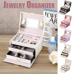 3 Layers Portable Jewelry Box Necklace Storage Case Cabinet Armoire Storage Boxcollection | Edlpe