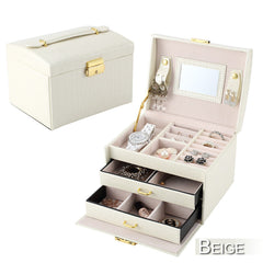 3 Layers Portable Jewelry Box Necklace Storage Case Cabinet Armoire Storage Box?Collection?