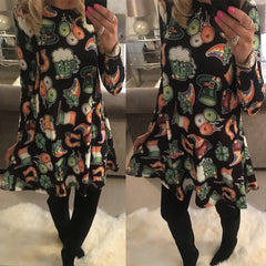 Women Long Sleeve Halloween Print Midi Dress Party Evening Dress