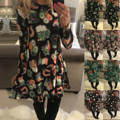 Women Long Sleeve Halloween Print Midi Dress Party Evening Dress | Edlpe