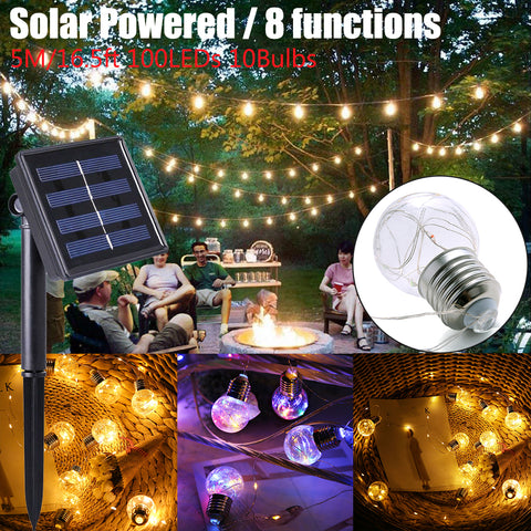 8 Modes 5M 100Leds 10 Bulbs Solar Powered Waterproof Led String Light Fairy Light Christmas Party | Edlpe
