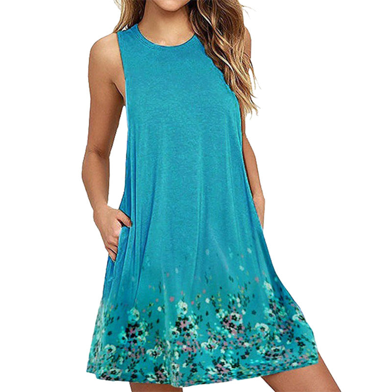S-6Xl Women Boho Floral Dress Sleeveless Holiday Party Mini Dress Long Tops | Edlpe