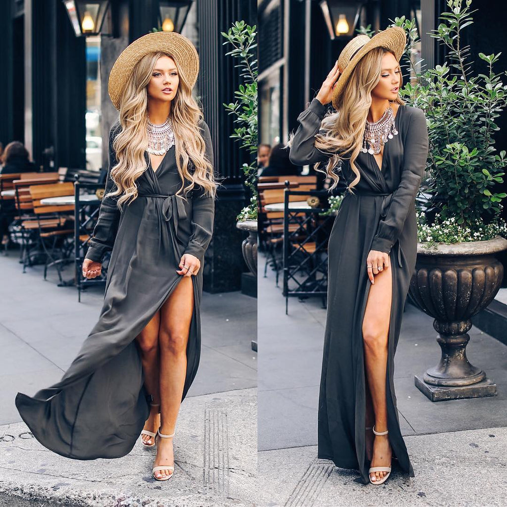 Fashion Womens V Neck Long Sleeve High Split Maxi Shirt Dress Evening Party Casual Long Sundress | Edlpe