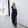 Image of Fashion Womens V Neck Long Sleeve High Split Maxi Shirt Dress Evening Party Casual Long Sundress | Edlpe