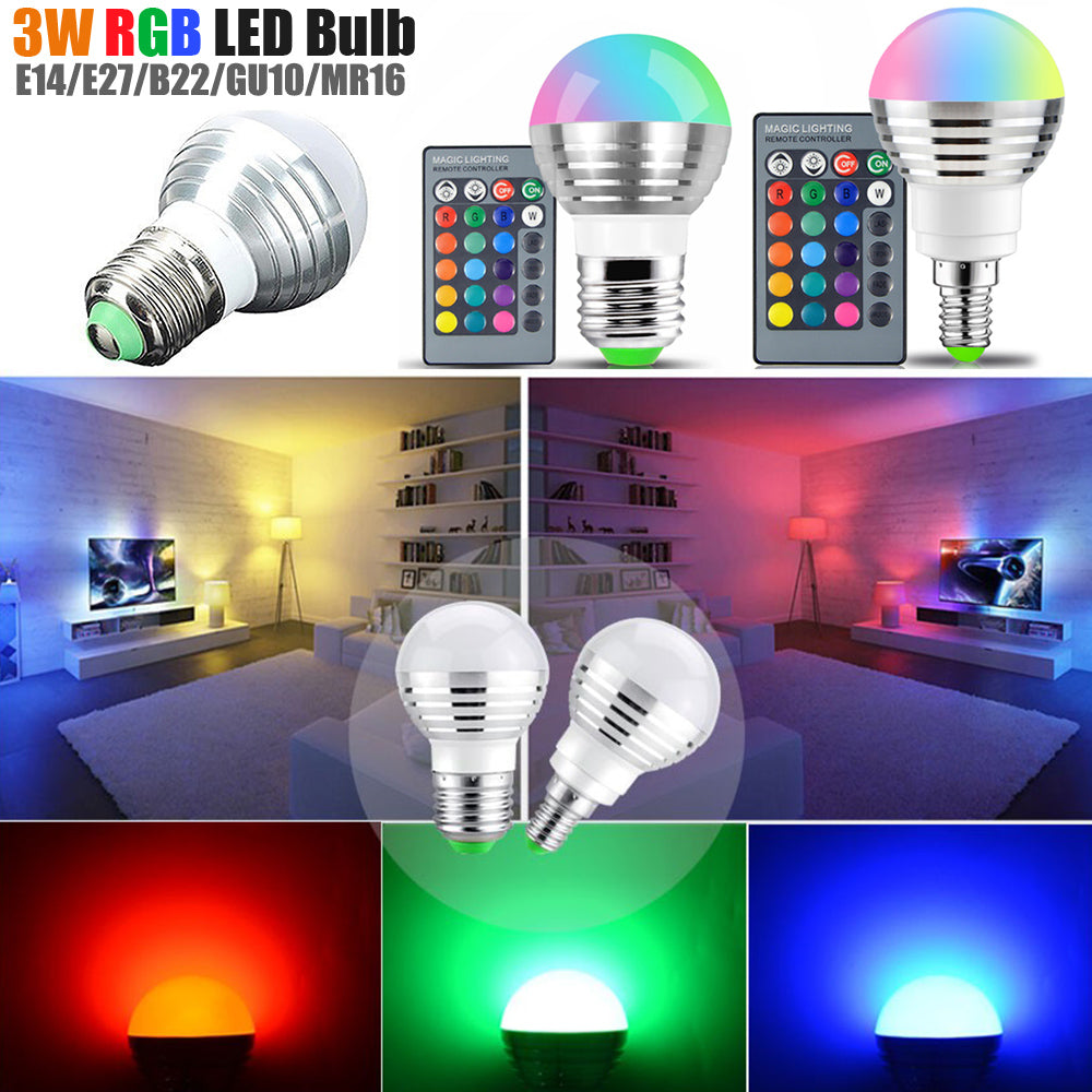 16 Colors Led Rgb Bulb Lamp E14 E27 B22 Gu10 Mr16 Ac85-265V 3W Rgb Led Spot Blubs Light Magic | Edlpe