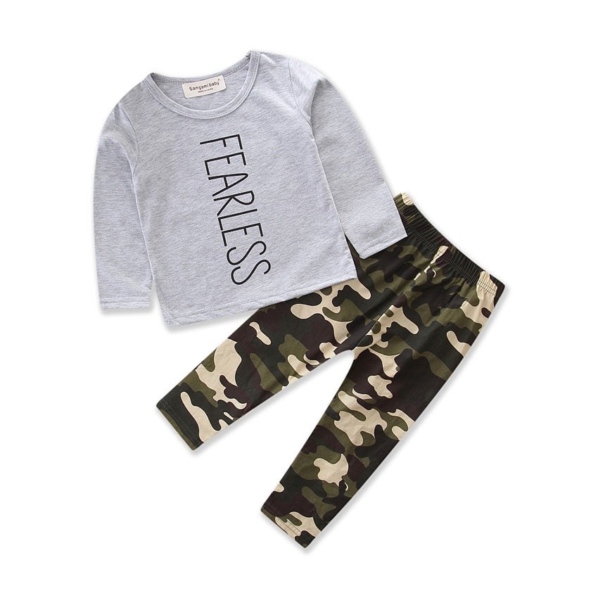 Newborn Kid Baby Boys Girls Tops T-Shirt Camouflage Pants Fearless Long Sleeve Clothes Home Pajamas | Edlpe