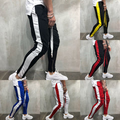 Men Fashion Cotton Striped Pants Summer Casual Loose Trousers Zipper Sport Gym Running Pants | Edlpe