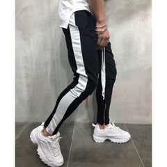 Men Fashion Cotton Striped Pants Summer Casual Loose Trousers Zipper Sport Gym Running Pants