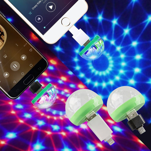 Colors Change Mini Stage Lights Voice-Activated 3W Magic Ball Lights Party Disco For Andriod Ios | Edlpe