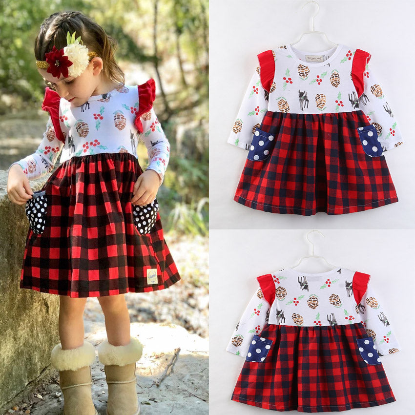 Infant Kid Girls Toddler Casual Birthday Party Plaid Tutu Dress Long Sleeve Cute Cotton Dresses 2-6Y | Edlpe