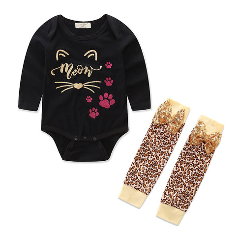 Newborn Baby Girls Long Sleeve Romper Top+Leopard Leggings Stockings Outfits Set | Edlpe