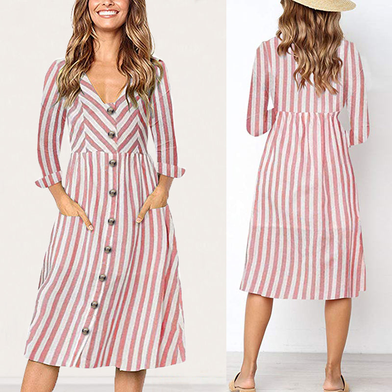 Womens Ladies V Neck Long Sleeve Striped Button Pocket Dress Casual Party Swing Midi Dress | Edlpe