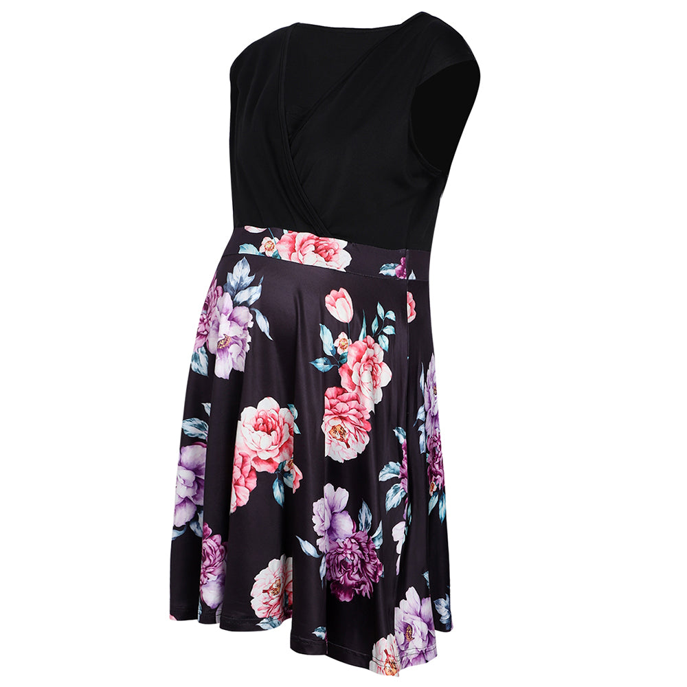Maternity Deep-V Sleeveless Breastfeeding Floral Skirt Stitching A-Line Dress | Edlpe