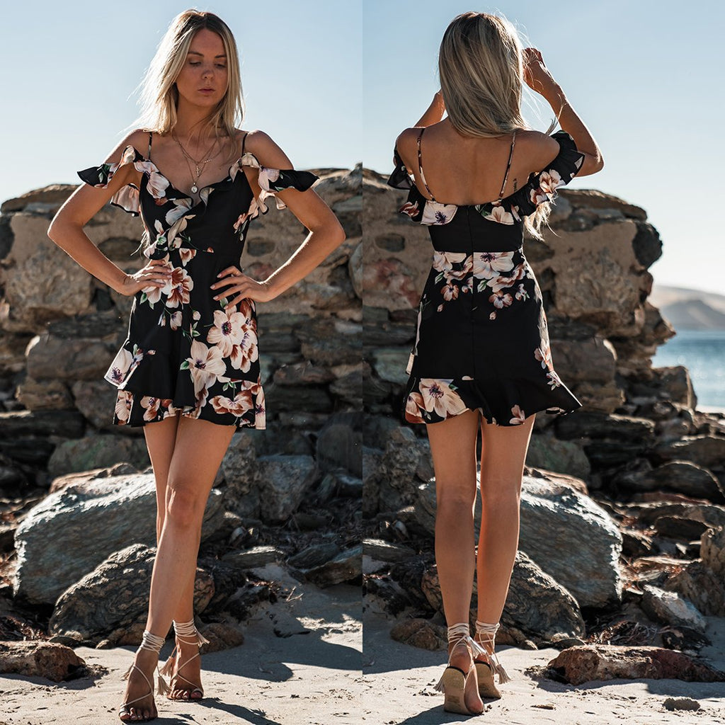 Women Sexy Floral Backless Ruffled Cold Shoulder Dress Summer Party Cocktail Sundress | Edlpe