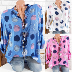 Women Polka Dot Print Blouse Long Sleeve Button V Neck Ol Casual Tops Shirts | Edlpe