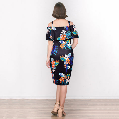 Cold Shoulder Maternity Floral Leaf Painted Flounced Hem Bodycon Dress | Edlpe