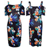 Image of Cold Shoulder Maternity Floral Leaf Painted Flounced Hem Bodycon Dress | Edlpe