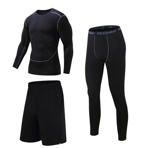 3Pcs Men Sport Gym Compression T-Shirt Base Layer Shorts Pants Athletic Tight Fitness Suits | Edlpe