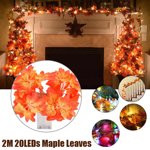 20Leds Maple Leaves Fairy Light Orange Yellow Leaf String Lights Fall Wedding Home Decor | Edlpe