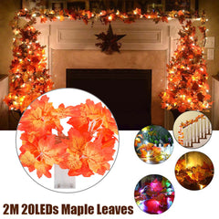 Image of 20LEDs Maple Leaves Fairy Light Orange Yellow Leaf String Lights Fall Wedding home Decor