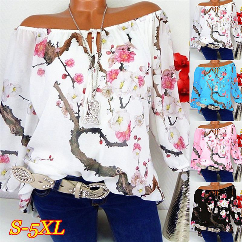 S-5Xl Women Off Shoulder Floral Tops Ladies Loose T Shirt Blouse Plus Size | Edlpe