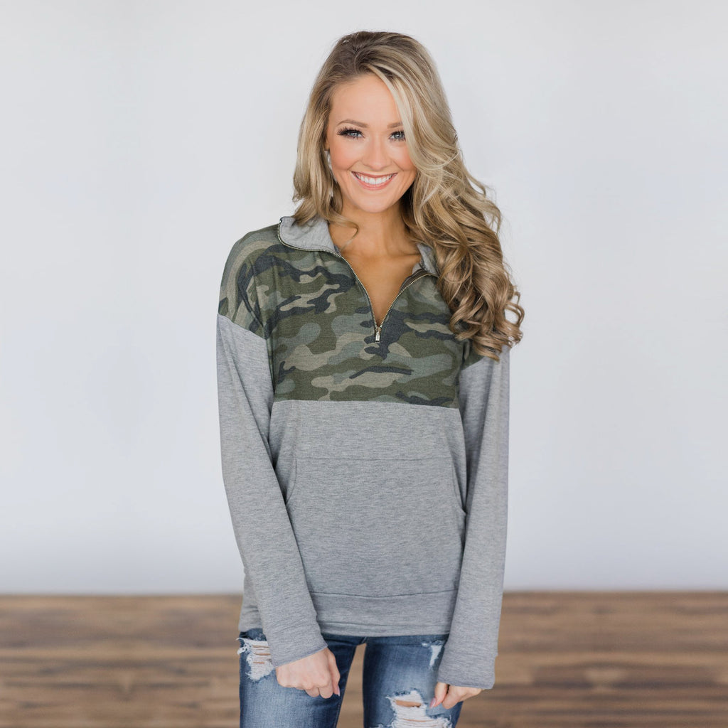 Women Camo Long Sleeve Blouse Top Ladies Zip V Neck Sweatshirt Shirt Hoodies | Edlpe