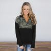 Image of Women Camo Long Sleeve Blouse Top Ladies Zip V Neck Sweatshirt Shirt Hoodies | Edlpe