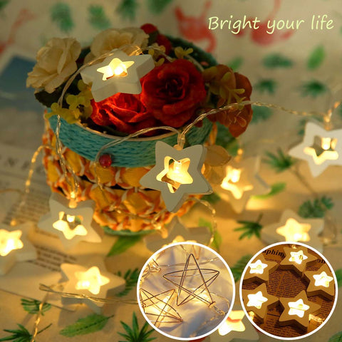 10Led Fairy Light Wooden Metal Stars Led String Lights Christmas Home Indoor Decoration Light | Edlpe