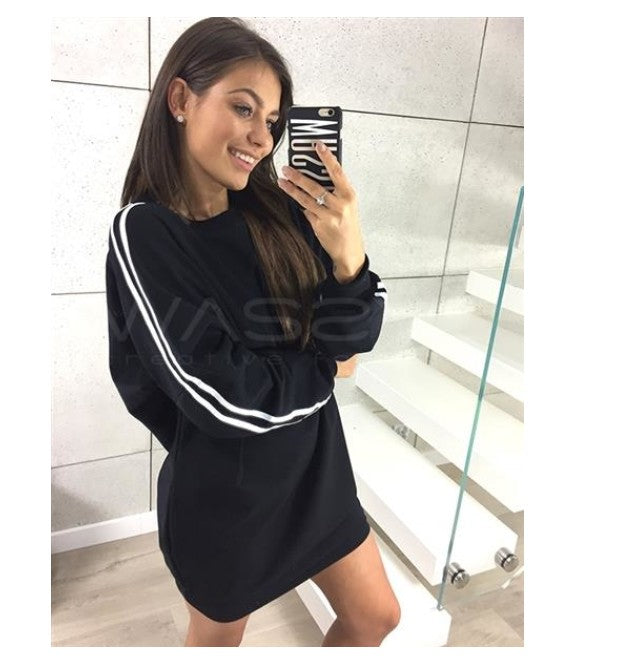 Women Autumn Long Sleeve Plain Pullover Sweater Dress Long Tops | Edlpe