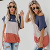Image of Women Casual Baggy Blouses Round Neck Short Sleeve Multicolor Tops Summer Shirts | Edlpe