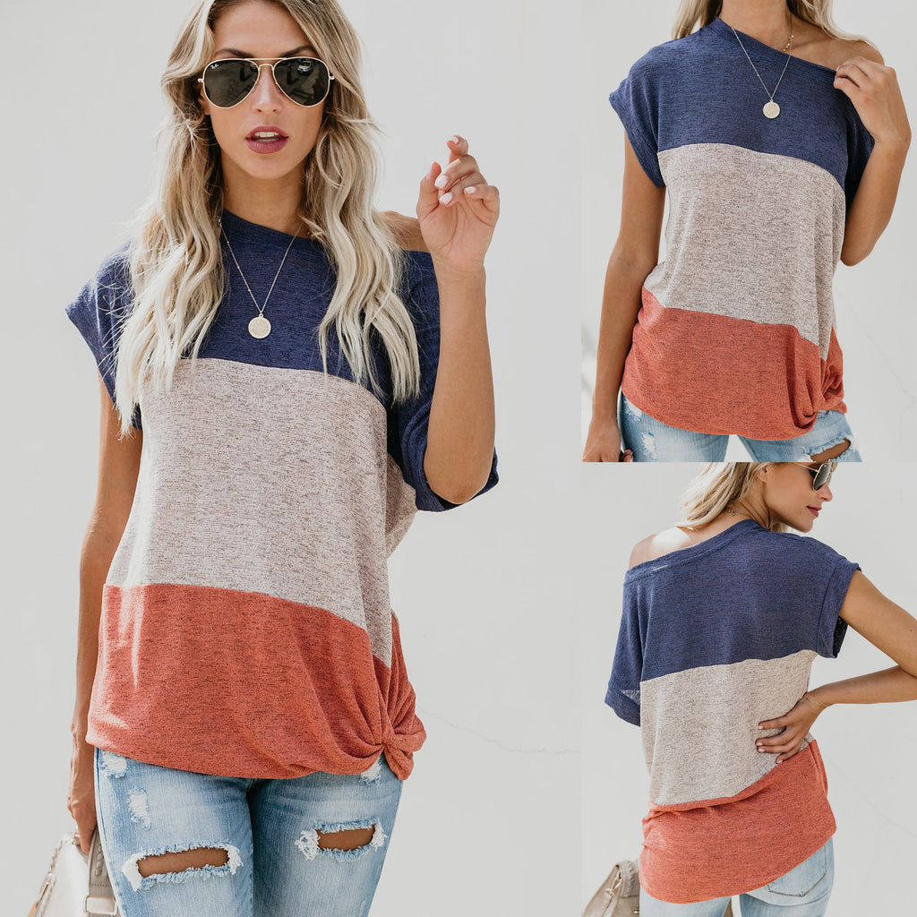 Women Casual Baggy Blouses Round Neck Short Sleeve Multicolor Tops Summer Shirts | Edlpe