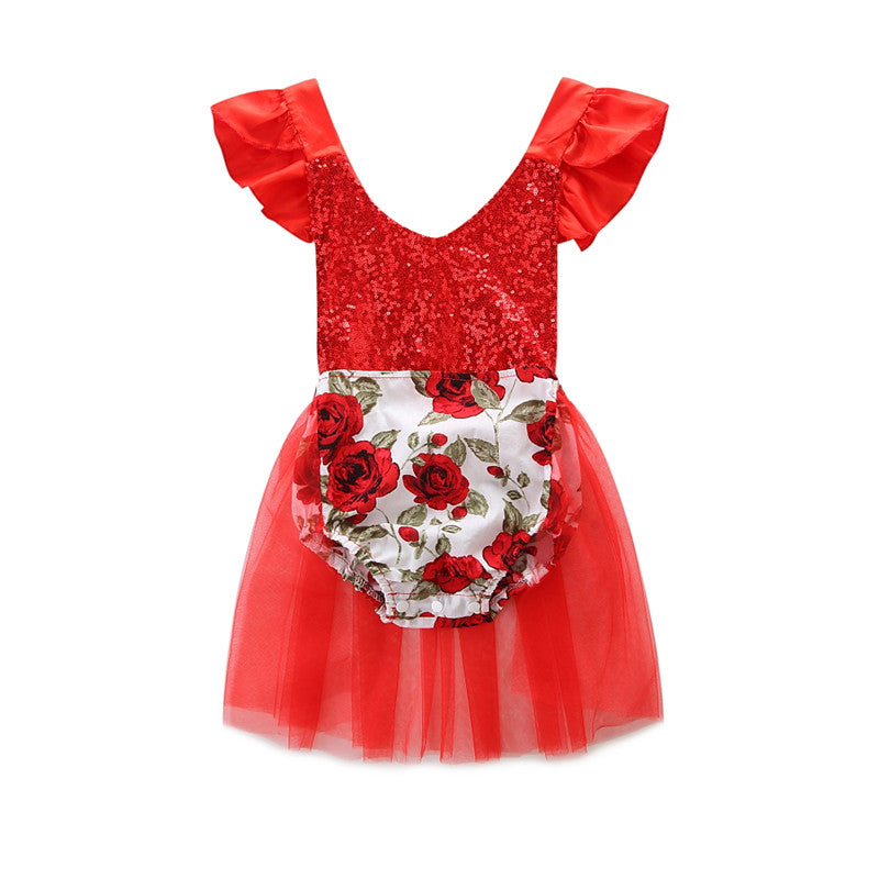Baby Girls Sequins Romper Floral Bodysuit Jumpsuit Tulle Tutu Dresses Wedding Party Outfits Sets | Edlpe