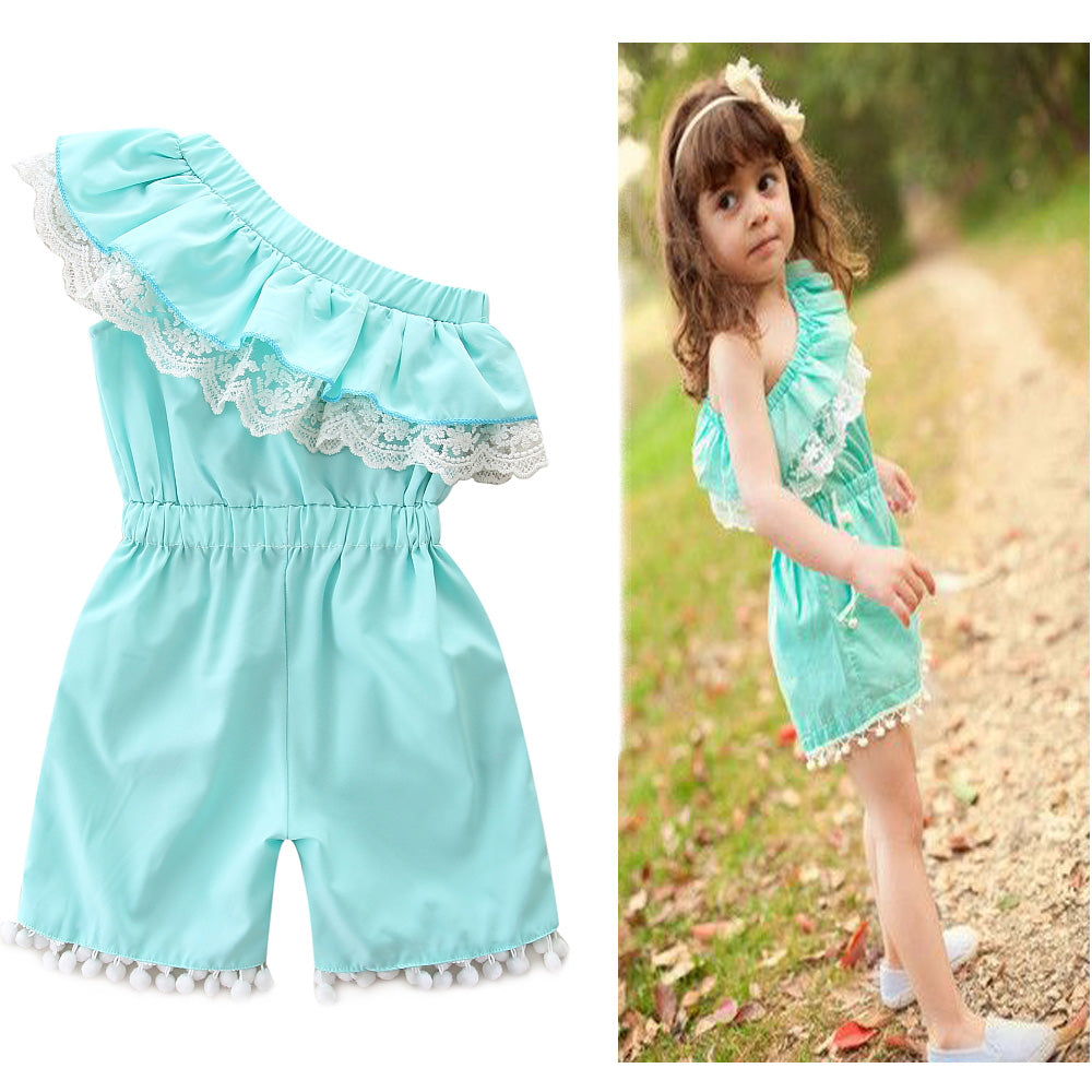 Baby Girls One Shoulder Romper Cute Lace Ruffle Bodysuit Jumpsuit Outfits Clothes With Pockets | Edlpe