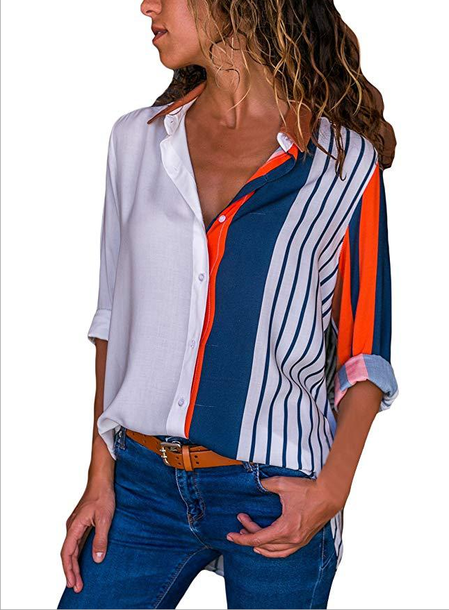 Fashion Women Long Sleeve Striped Tops Button Casual T-Shirt Blouse | Edlpe