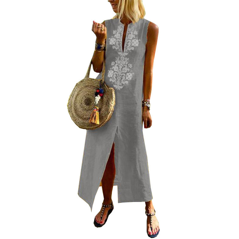 Women Paisley Sleeveless Split Maxi Dress Baggy Cotton Linen Kaftan Dress | Edlpe
