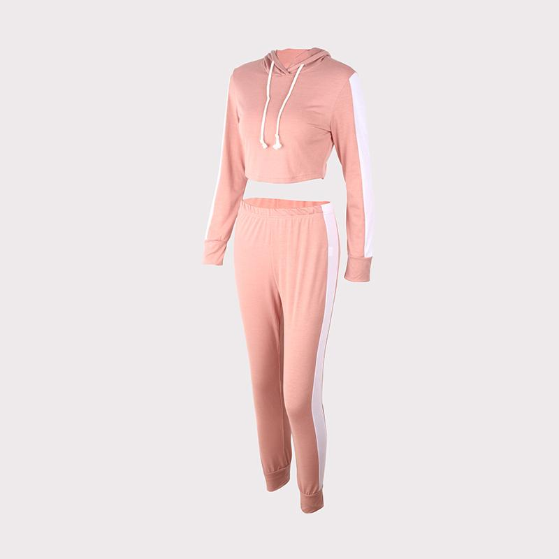 2Pcs Womens Tracksuit Long Sleeve Crop Tops Pants Set Lounge Wear Sports Suit | Edlpe