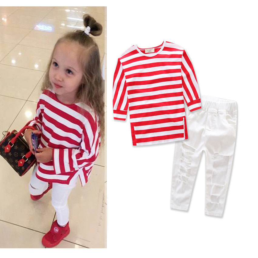 Cute Toddler Kids Baby Girls Stripe T Shirt Tops Ripped Long Pants Outfit Clothes Set For 2-7Y | Edlpe