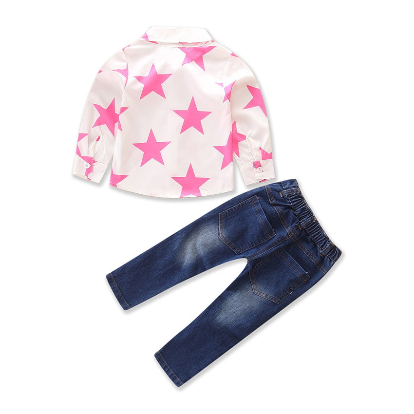 Fashion Kid Autumn Long Sleeve Star Pattern Shirt Jeans 2 Pcs Baby Girl Cowboy Clothes Set Size 1-7Y | Edlpe
