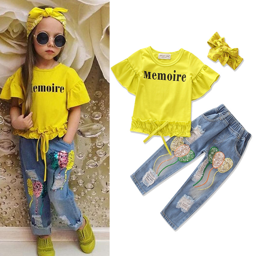 3Pcs Kids Suit Outfits T-Shirt+Ripped Jeans+Headband Girls Clothes Fashion Baby Cowboy Outfits Set | Edlpe