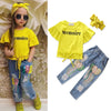 Image of 3Pcs Kids Suit Outfits T-Shirt+Ripped Jeans+Headband Girls Clothes Fashion Baby Cowboy Outfits Set | Edlpe