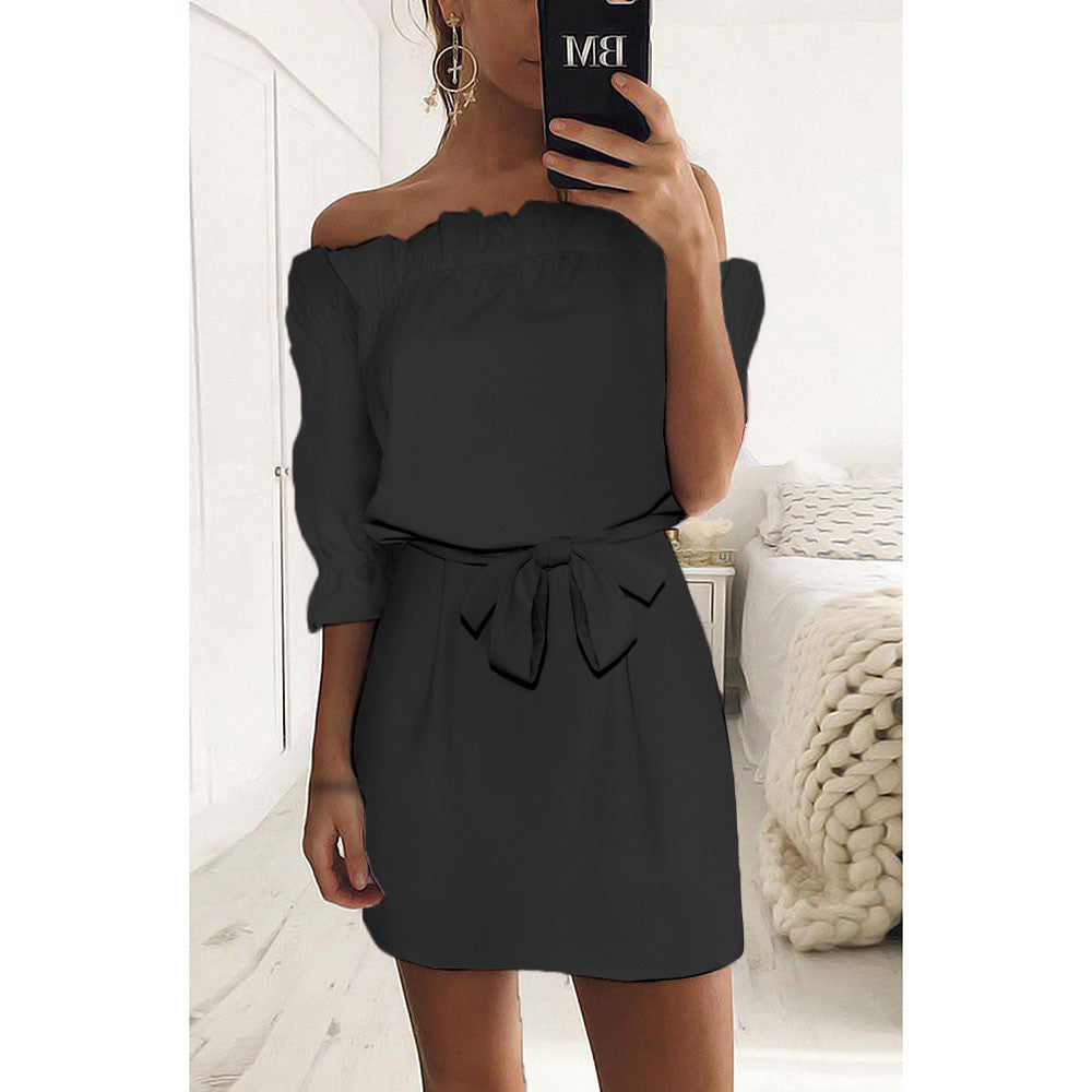 Women Plain Off Shoulder Ruffle Mini Dress Ladies Holiday Frill Tops Plus Size | Edlpe