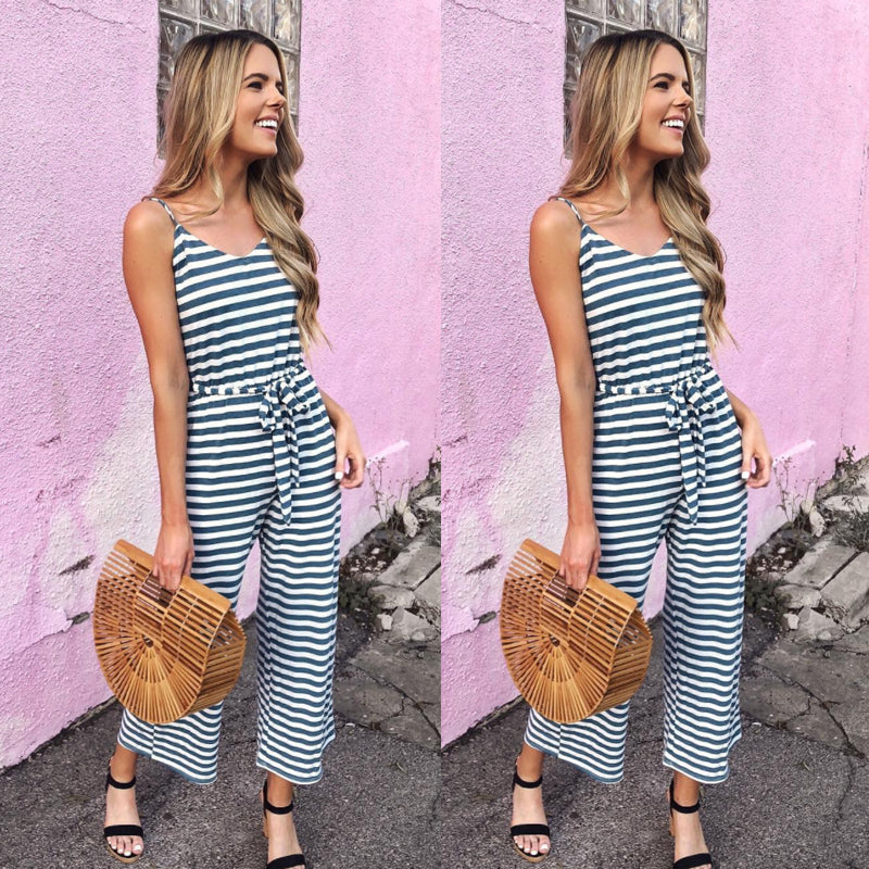 Womens Jumpsuit Ladies Playsuit UK Summer Beach Holiday Striped Dress Plus Size