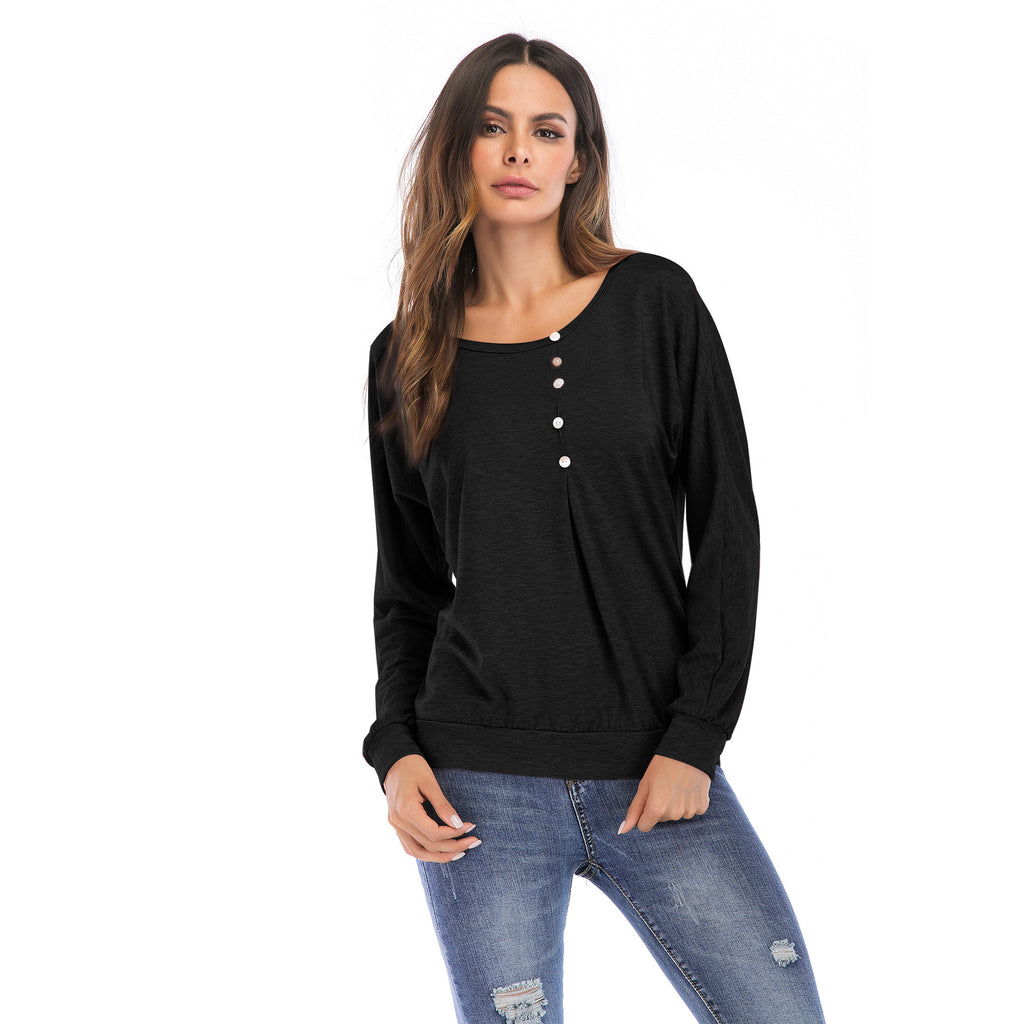 Autumn Women Long Sleeve Button T-Shirt Ladies Loose Basic Tunic Blouse Tops Tee | Edlpe